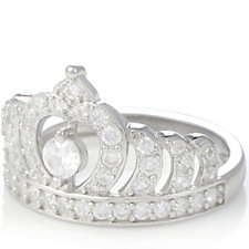 Diamonique 0.7ct tw Crown Ring Sterling Silver