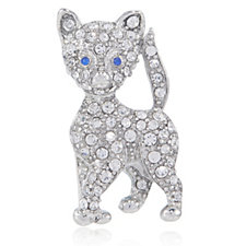 Bill Skinner Crystal Pave Cat Brooch