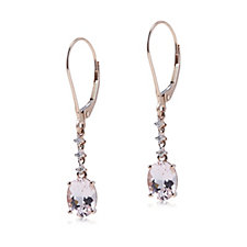 306819 - 2ct Morganite Premier Oval Drop Leverback Earrings with Diamonds 9ct Gold