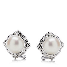 Honora 9.5-10mm Cultured Button Pearl Earrings Sterling Silver