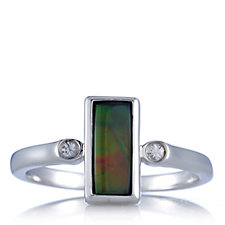 Canadian Ammolite Triplet North South Ring Sterling Silver