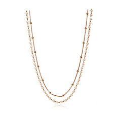 Anne Klein Double Row Station Bead & Simulated Pearl 110cm Necklace