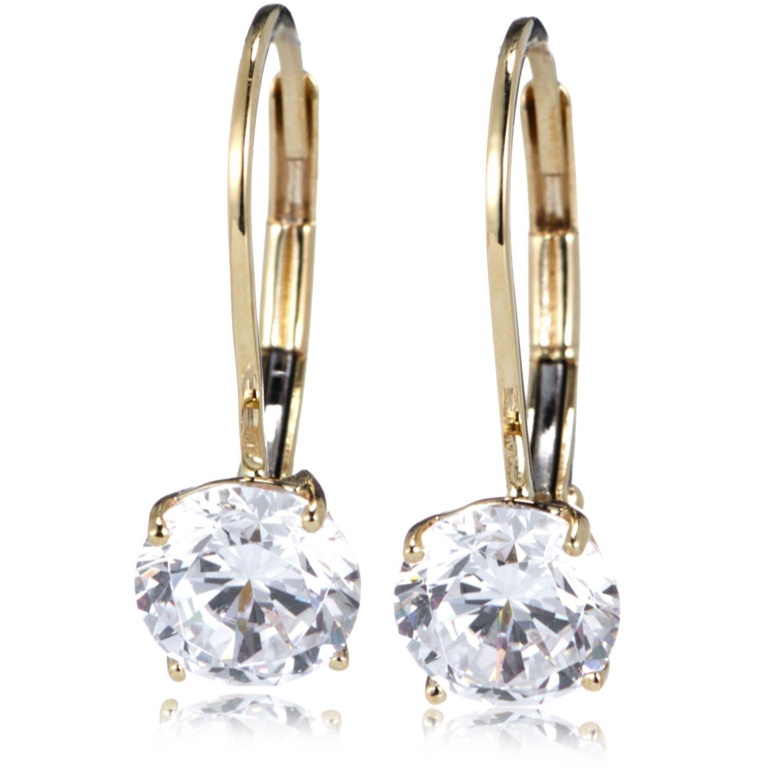Diamonique 2ct tw Leverback Earrings 9ct Gold QVC UK