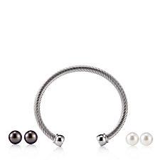 Honora 10-11mm Cultured Pearl Bracelet & Earrings Set Stainless Steel