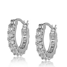 Diamonique 1ct tw Hoop Earrings Sterling Silver
