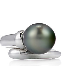 10mm Cultured Tahitian Pearl Ring Sterling Silver
