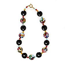 Murano Glass 21mm Mosaic Disc Necklace Sterling Silver