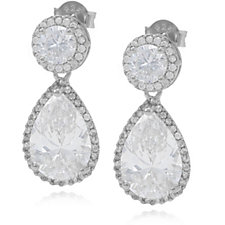 Michelle Mone for Diamonique 5.9ct tw Pear Drop Earrings Sterling Silver