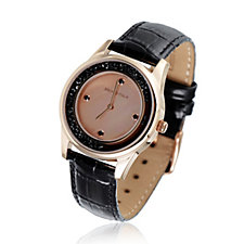 Bronzo Italia Black Crystal Leather Watch