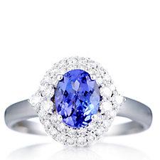 1.2ct AAAA Tanzanite & 0.5ct Diamond Solitaire Ring 18ct Gold