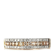307720 - 0.50ct Natural Pink & White Diamond Half Eternity Ring 9ct Gold
