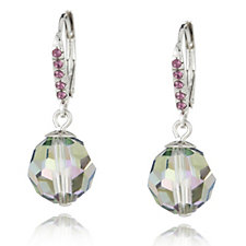 Crystal Glamour with Swarovski Crystals Metallic Faceted Leverback Earrings