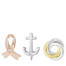 Breast Cancer Care Hope, Strength & Unity Set of 3 Pins Sterling Silver