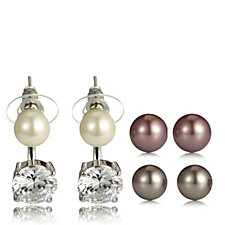 Frank Usher Set of 3 Simulated Pearl Earrings with Crystal Drop