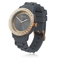 Pilgrim Crystal Bezel Silicone Strap Watch