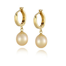 9-10mm Cultured Golden Pearl Huggie Earrings Gold Plated Sterling Silver