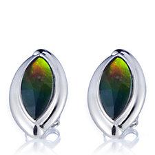 Canadian Ammolite Triplet Marquise Stud Earrings Sterling Silver