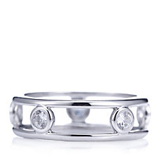 Diamonique 0.5ct tw Platinum Plated Band Ring Sterling Silver
