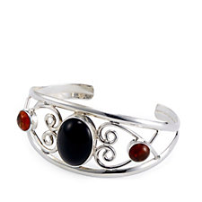 Taxco Traditions 3 Stone Scroll Cuff Sterling Silver