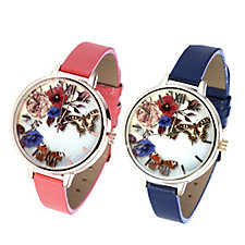 Gossip Blooming Floral Dial Set of 2 Watches