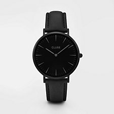 Cluse La Boheme Black Leather Strap Watch