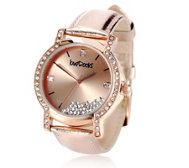 loveRocks Floating Crystal Leather Strap Watch