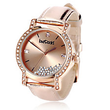 304722 - loveRocks Floating Crystal Leather Strap Watch