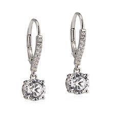 Diamonique 2.5ct tw 100 Facet Cut Leverback Earrings Sterling Silver