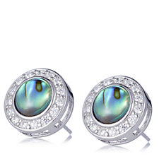 Diamonique 0.3ct tw Mother of Pearl Stud Earrings Sterling Silver
