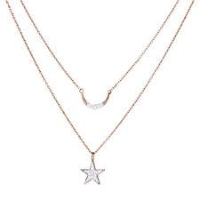 Lisa Snowdon Diamond Star & Moon Set of 2 Pendants Sterling Silver