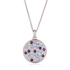 Aurora Swarovski Crystal Multi Coloured Round Pendant 52cm Necklace