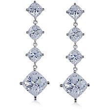 Michelle Mone for Diamonique 8.9ct tw Cushion Cut Earrings Sterling Silver