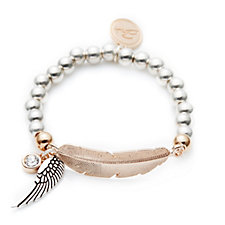 Bibi Bijoux Ball Bead & Feather Bracelet with Crystal & Wing Charm