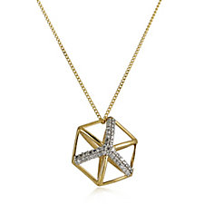 Lisa Snowdon 3D Hexagon Pendant & Chain Gold Vermeil Sterling Silver