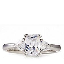 Diamonique 1.3ct tw Emerald Princess Cut Ring Sterling Silver