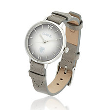 O.W.L Bath Dome Dial Stainless Steel Leather Strap Watch