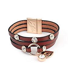Bibi Bijoux Heart Charm Leather Bracelet