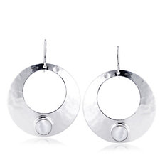 Taxco Traditions Hammered Dome Gem Earrings Sterling Silver
