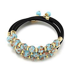 Murano Glass Aventurina 3 Strand Wrap Bracelet 18ct Gold Plated