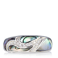 Diamonique 0.2ct tw Mother of Pearl Band Ring Sterling Silver