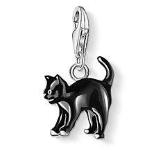 Thomas Sabo Charm Club Black Cat Charm Pendant Sterling Silver