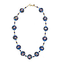 Murano Glass Madonna Design Station Bead 48cm Necklace Sterling Silver