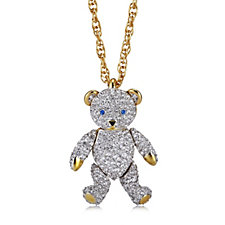 Bill Skinner Crystal Teddy Pendant & Long 74cm Chain Necklace