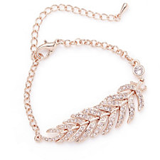 Crystal Glamour with Swarovski Crystals Feather 18cm Bracelet with Extender