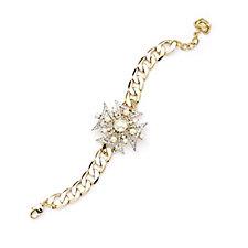 Butler & Wilson Crystal Medal Cross Chain Bracelet