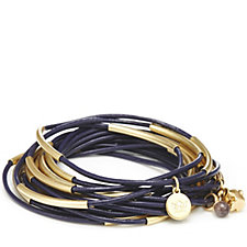 Sence Copenhagen Set of 15 Leather Stacking Bracelets with Charm