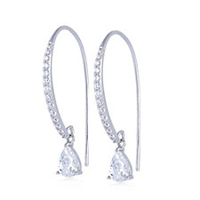 308225 - Diamonique 1.9ct tw Pear Drop Earrings Sterling Silver
