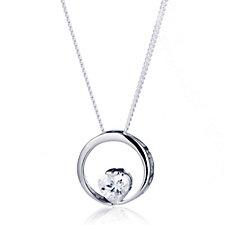 Diamonique 0.7ct tw Solitaire Heart Pendant & 45cm Chain Sterling Silver