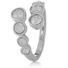 Aurora Swarovski Crystal Cross Over Eight Stone Ring