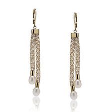Honora 6-6.5mm Cultured Pearl & Crystal Mesh Lariat Earrings Stainless Steel